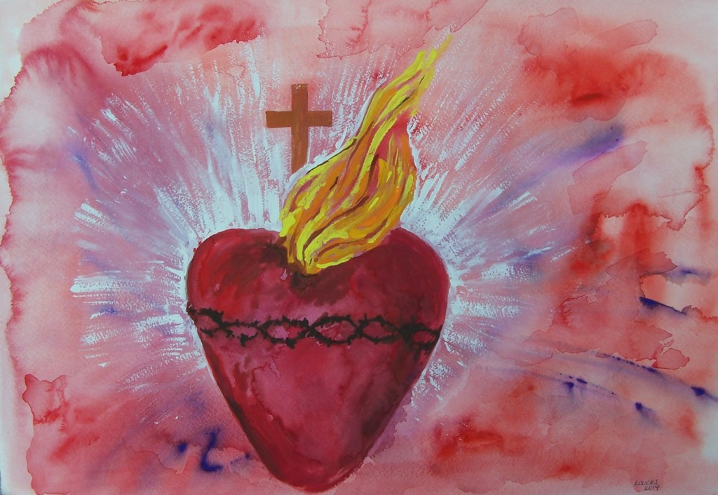 Sacred Heart, watercolor