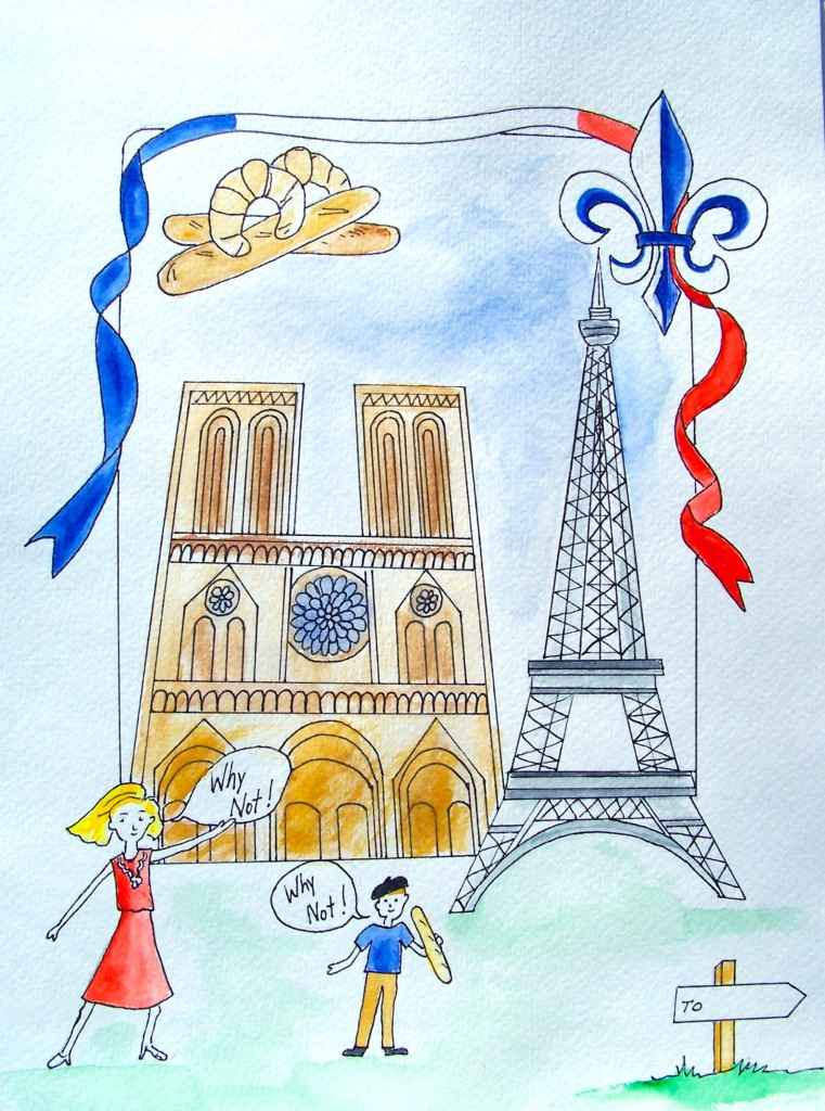 France, watercolor
