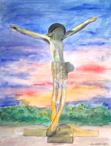 Risen Christ Watercolor painting, Medjugorje