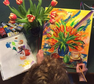painting tulips overhead view