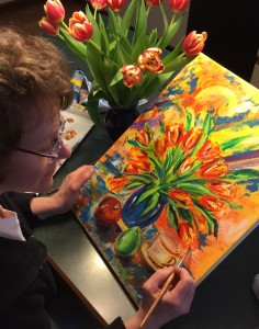 painting tulips canvas