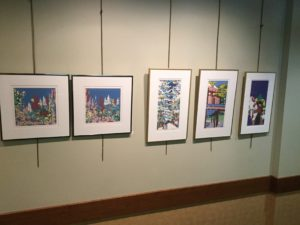 Display of artwork at the Saratoga Springs Library